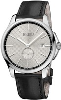 Gucci G-Timeless Slim Automatic men's black leather strap watch
