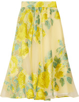 Lela Rose Floral Fil Coupé Organza Midi Skirt - Bright yellow