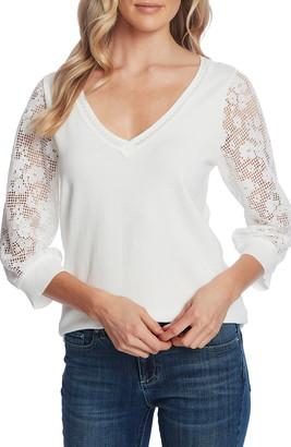 CeCe Lace Sleeve V-Neck Cotton Sweater