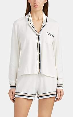 Skin Women's Eloise Stripe-Trimmed Cotton-Blend Pajama Top - Ivory