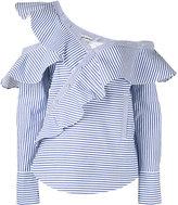 Self-Portrait striped frill blouse - women - Cotton - 8