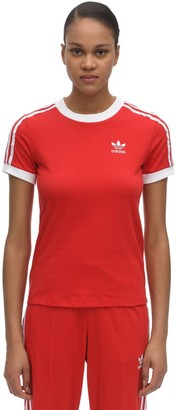 adidas Striped Cotton T-shirt W/ Logo Detail