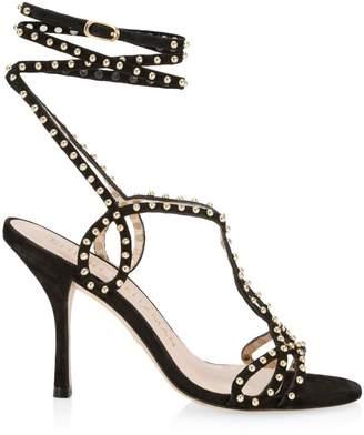 Stuart Weitzman Leya Ankle-Wrap Studded Suede Sandals