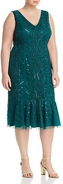 Adrianna Papell Plus Beaded Flounce Hem Dress