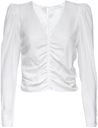 Frame Agnes Ruched Silk Top