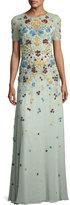 Jenny Packham Floral-Appliqué; Short-Sleeve Illusion Gown