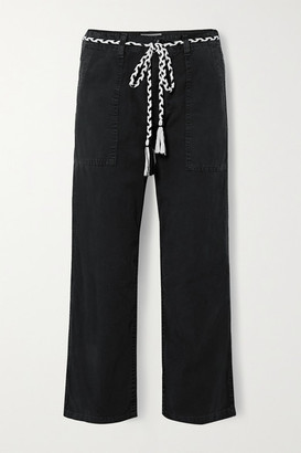The Great The Vintage Belted Cotton-canvas Straight-leg Pants - Black