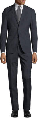Neiman Marcus Men's Windowpane Wool-Twill Two-Piece Suit, Black/Blue