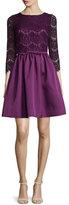 Erin Fetherston 3/4-Sleeve Lace-Bodice Dress