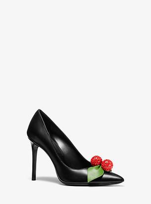 Michael Kors Gretel Cherry-Embellished Leather Pump