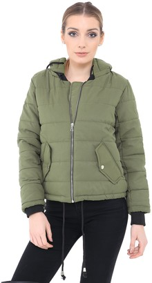 Generation Fashion New Ladies Women Long Sleeve Quilted Puffer Padded Hooded Warm Bubble Coat Jacket S M L XL[Nude L]