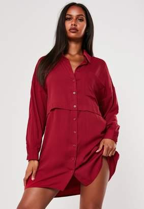 Missguided Burgundy Utility Shirt Dress
