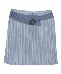 Revolt Jeans Plus Size Striped Short Denim Skirt