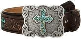M&F Western Scroll Embroidery Turquoise Cross Belt (Little Kids/Big Kids) (Brown) Women's Belts