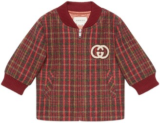 Gucci Baby check wool jacket with InterlockingG