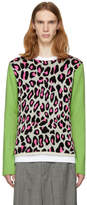 Comme des Garcons White and Green Knit Leopard Sweater