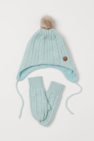 H&M Cable-knit Hat and Mittens - Turquoise