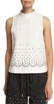 Alexander Wang Sleeveless Grommet-Embellished Blouse, Silica