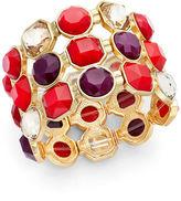 Charter Club Gold-Tone Red Bead Three-Row Stretch Bracelet
