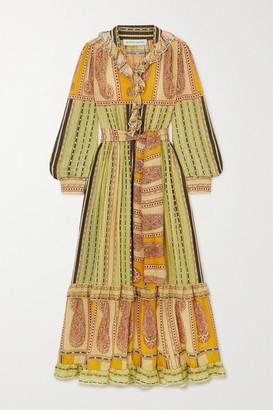 Etro Belted Ruffled Paisley-print Silk Midi Dress - Green