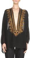 Saint Laurent Embroidered Georgette Caftan Tunic, Black/Gold