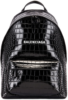 Balenciaga Small Embossed Croc Everyday Backpack in Black | FWRD