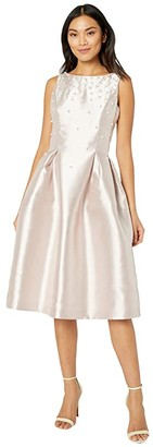 Tahari ASL Solid Mikado Party Dress with Scaqttered Pearl Detail (Rose Quartz) Women's Dress