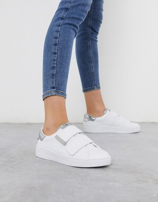 Ted Baker veni velcro trainer with silver tipping in white