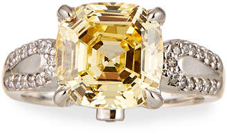 FANTASIA Cushion-Cut Canary CZ Crystal Ring