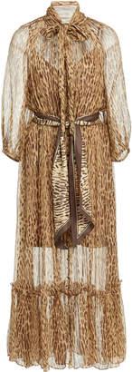 Zimmermann Belted Printed Silk-Chiffon Maxi Dress
