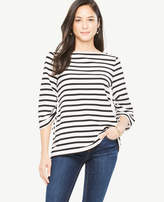 Ann Taylor Stripe Square Neck Ruched Sleeve Top