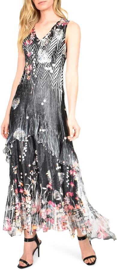 Lace-Up Back Charmeuse & Chiffon Maxi Dress
