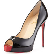 Christian Louboutin New Very Prive Patent Red Sole Pump, Black/Red