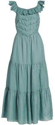 Sea Sleeveless Ruffle Midi Dress