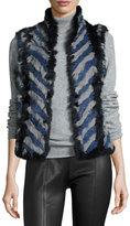 Alberto Makali Stripe-Print Rabbit Fur Vest, Blue