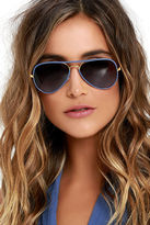 LuLu*s Clear View Blue Aviator Sunglasses