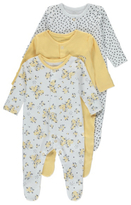 George 3 Pack Assorted Butterfly Sleepsuits