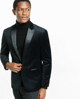 Express slim photographer geo dot print velvet tuxedo blazer