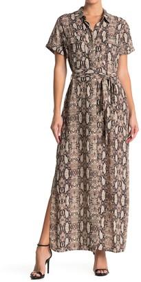 Socialite Short Sleeve Animal Print Shirt Maxi Dress