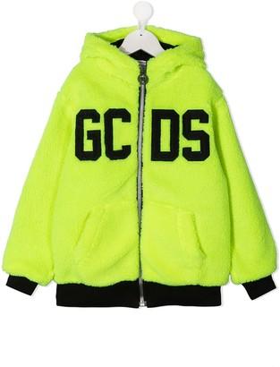 Gcds Kids Logo Print Zip-Up Hoodie