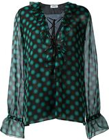 Au Jour Le Jour ruffled tie neck relaxed fit blouse