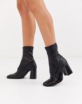 Asos Design DESIGN Evan premium leather western sock boots in black