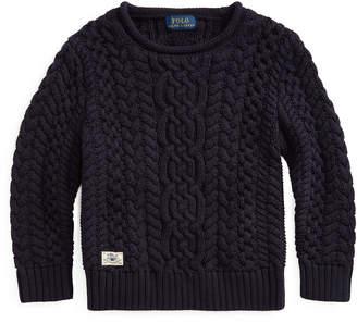 Ralph Lauren Childrenswear Boy's Aran Cable Knit Sweater, Size 2-4