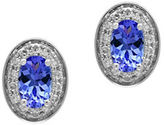 Effy Tanzanite, 0.11 TCW Diamonds and 14K White Goldplated Stud Earrings