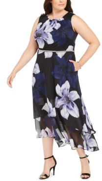 SL Fashions Plus Size Embellished Floral-Print A-Line Dress