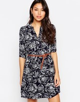 Yumi 3/4 Sleeve Shift Dress In Floral Sketch Print