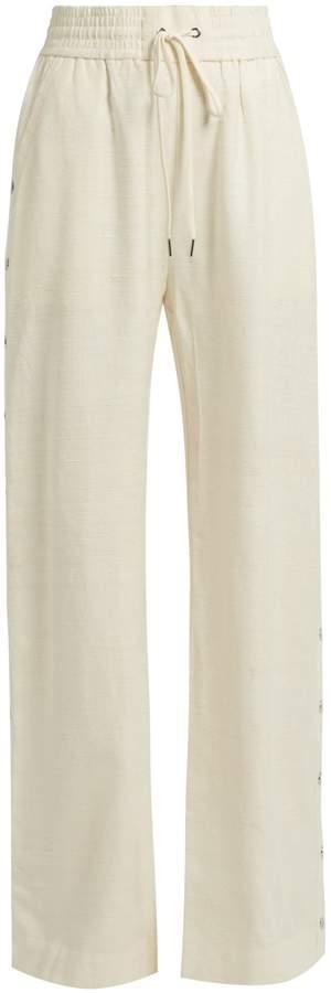 Zimmermann Cavalier buttoned-side wide-leg silk trousers