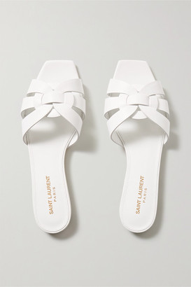 Saint Laurent Nu Pieds Woven Leather Slides - White