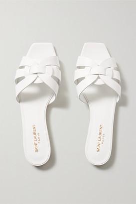 Saint Laurent Nu Pieds Woven Leather Slides - White