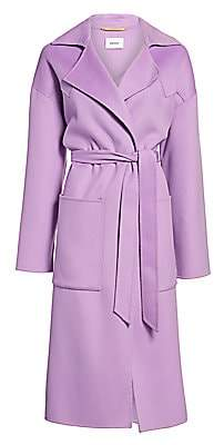 Nanushka Women's Alamo Wool & Silk Wrap Coat